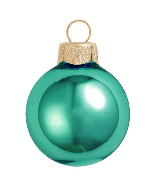 "40ct Turquoise Green Shiny Glass Christmas Ball Ornaments 1.25"" (30mm) - IMAGE 1"