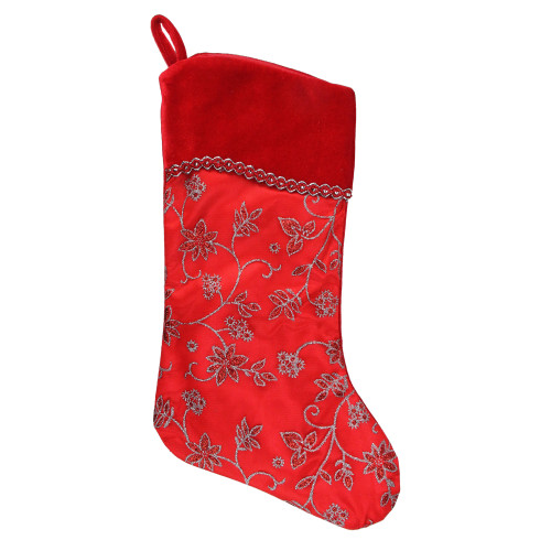 """20.5"""" Red and Silver Glittered Floral Shadow Cuffed Christmas Stocking - IMAGE 1"""