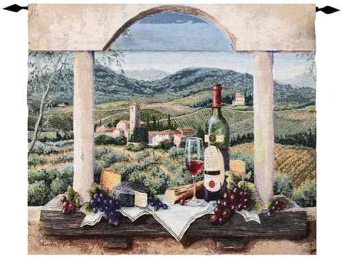 """Tuscan Winery French Inspired Vin de Provence Cotton Wall Art Hanging Tapestry 30"""" x 35"""" - IMAGE 1"""
