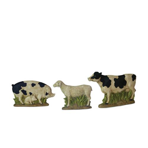 Set of 3 Country Heritage Rustic Farm Pig, Sheep and Cow Table Top Figures - IMAGE 1