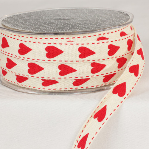 "Ivory and Red Heart Printed Woven Edge Craft Ribbon 0.62"" x 60 Yards - IMAGE 1"