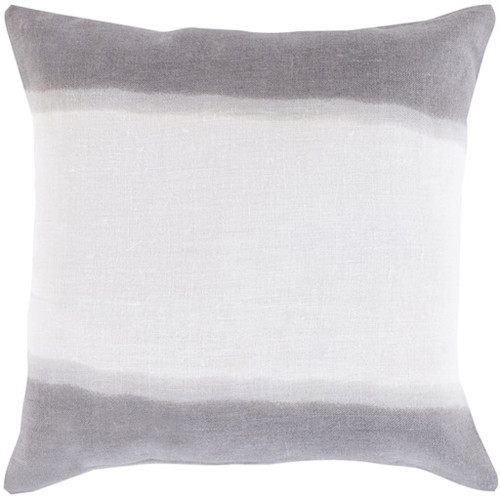 "18"" Gray and White Double Dip Decorative Throw Pillow - Down Filler - IMAGE 1"