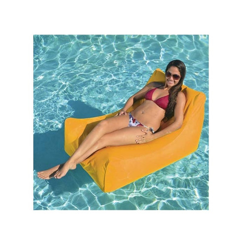 Inflatable Orange Chaise Swimming Pool Float, 43-Inch - IMAGE 1