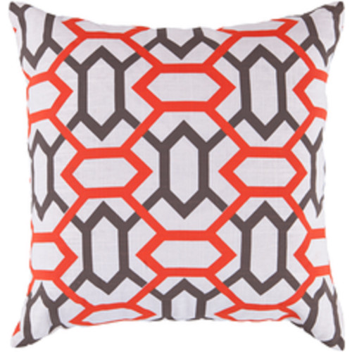 """22"""" Gray and Orange Square Throw Pillow - Poly Filled - IMAGE 1"""