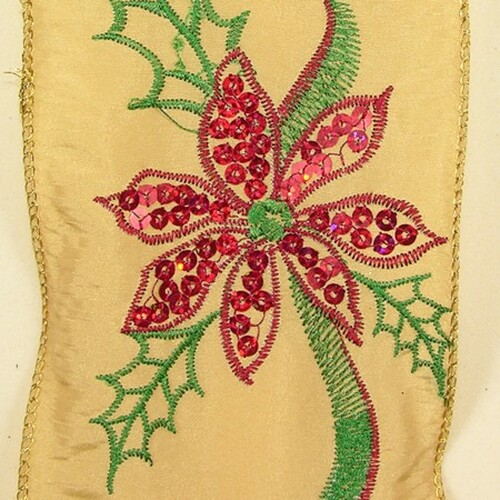 """Gold and Red with Embroidered Poinsettia Wired Craft Ribbon 4"""" x 10 Yards - IMAGE 1"""