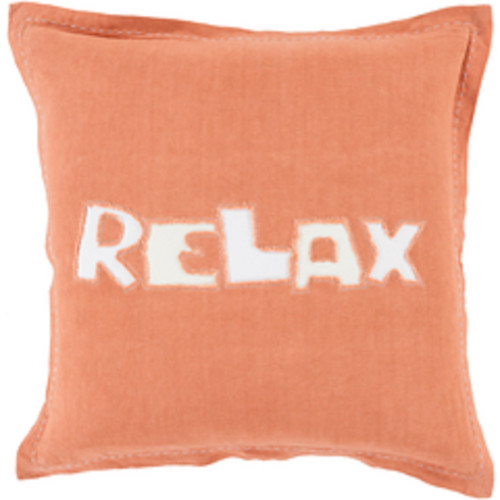"""20"""" Orange and White """"Relax"""" Square Throw Pillow - IMAGE 1"""