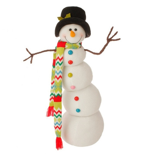 """26"""" White and Black Snowman with Hat Christmas Decor - IMAGE 1"""