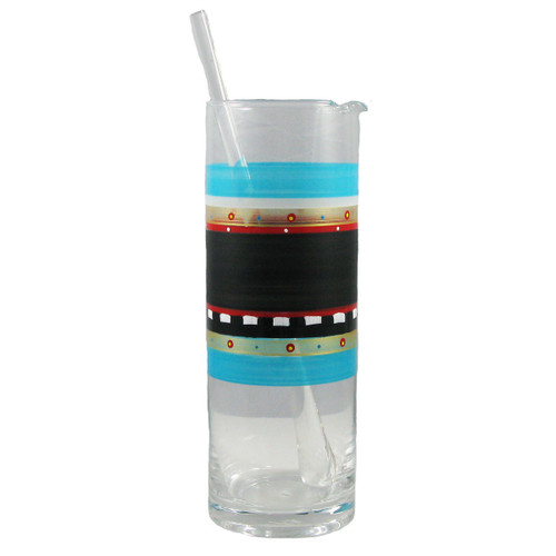 """9"""" Clear and Blue Mosaic Chalkboard Hand Painted Martini Pitcher with Stirring Rod - IMAGE 1"""