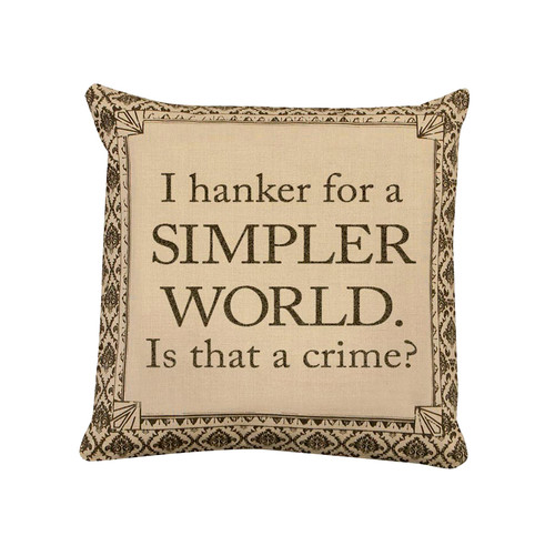 """18"""" Beige and Brown Downton Abbey Simpler World Throw Pillow - IMAGE 1"""