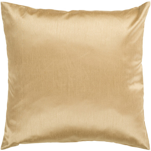 """22"""" Gold Solid Square Contemporary Throw Pillow - Down Filler - IMAGE 1"""