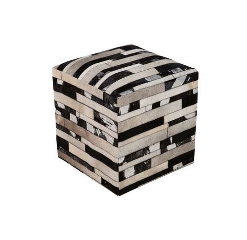 """18"""" Black, Chocolate Brown and Ivory Striped Leather Square Pouf Ottoman - IMAGE 1"""