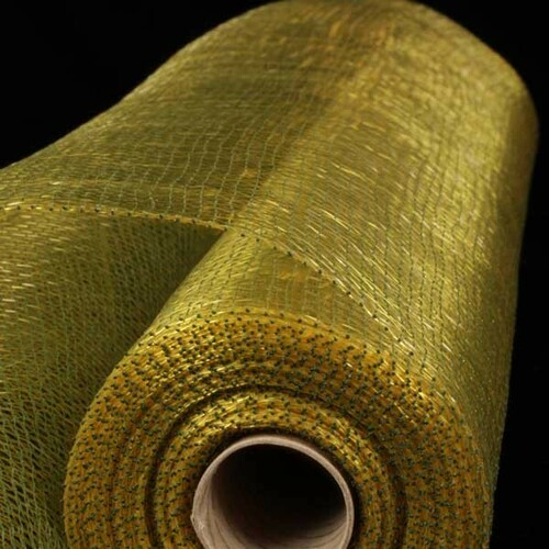 "Green and Gold Decorating Mesh Craft Ribbon 21"" x 40 Yards - IMAGE 1"