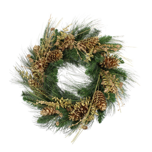 Gold Glitter Pine Cone and Berry Artificial Christmas Wreath - 26-Inch, Unlit - IMAGE 1