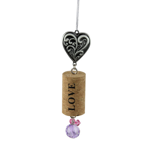 """Tuscan Winery Filigree Heart """"Love"""" Inspirational Decorative Purple Faux Gem Accented Wine Cork Christmas Ornament 5.5"""" - IMAGE 1"""