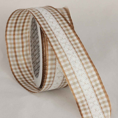 """Brown and White Wired Craft Ribbon 1.5"""" x 16 Yards - IMAGE 1"""
