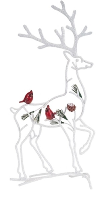 """18.25"""" White and Red Silhouette Reindeer with Cardinal Birds Christmas Tabletop Decor - IMAGE 1"""