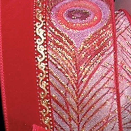 """Red and Gold Peacock Print Wired Craft Ribbon 2.5"""" x  20 Yards - IMAGE 1"""