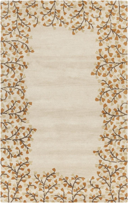 9' x 12' Cream and Brown Floral Designed Hand Tufted Rectangular Wool Area Throw Rug - IMAGE 1