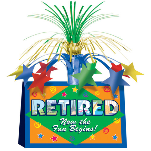 """Pack of 12 Blue and Green Retired Now The Fun Begins! Centerpieces 13"""" - IMAGE 1"""