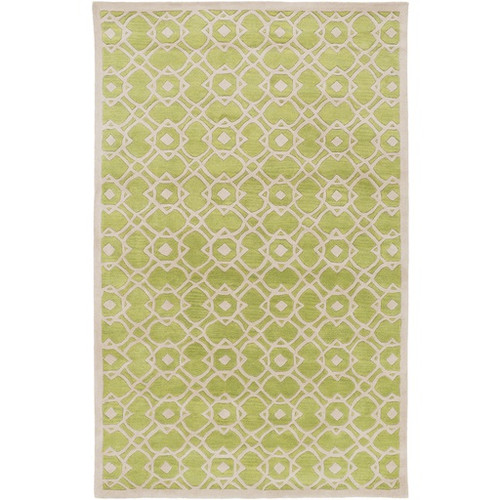 9' x 13' Entangled Symmetry Lime Green and Light Gray New Zealand Wool Area Throw Rug - IMAGE 1