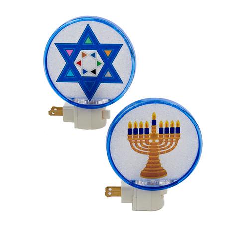 "5"" White and Blue Beaded Hanukkah Menorah Festive Night Light - IMAGE 1"