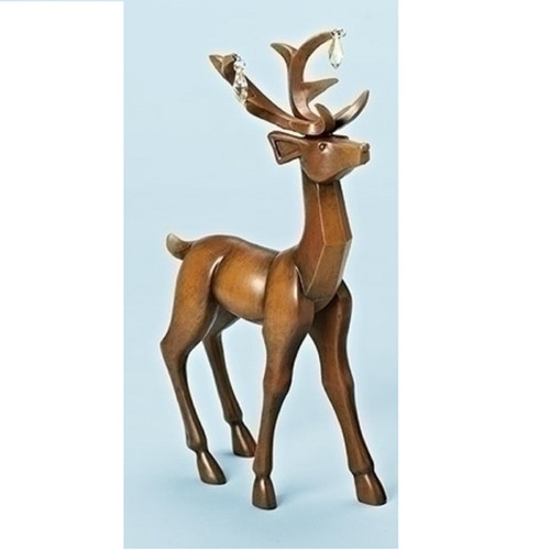 """11.75"""" Faux Wooden Finish Standing Deer Christmas Table Top Figure - IMAGE 1"""