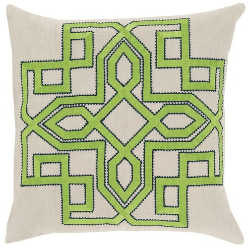 """22"""" Lime Green and Beige Woven Square Throw Pillow - Down Filler - IMAGE 1"""