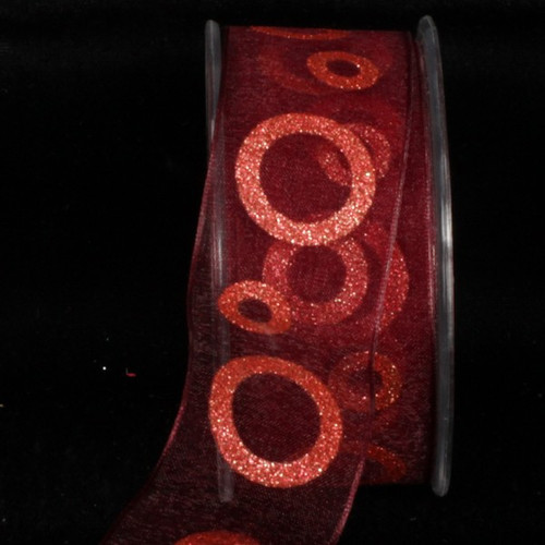 """Shimmering Red Power Loops Wired Craft Ribbon 1.5"""" x 27 Yards - IMAGE 1"""