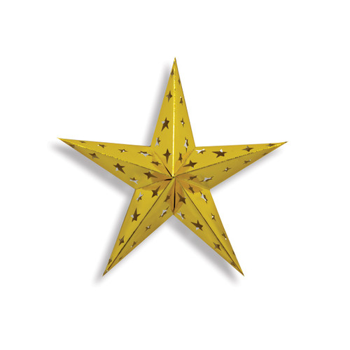 """Club pack of 12 Gold Traditional 3-D Star Cutouts 12"""" - IMAGE 1"""