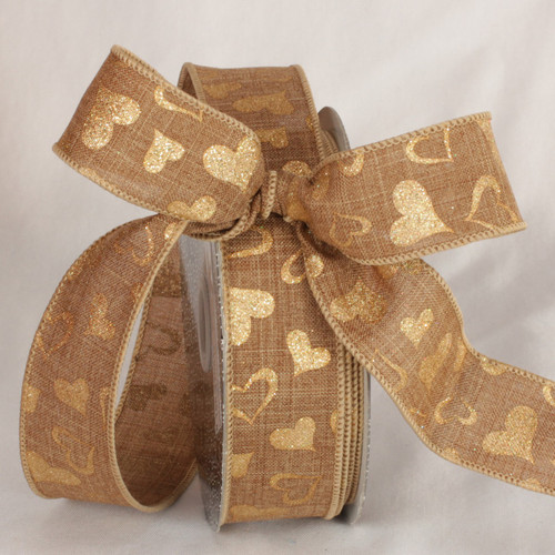 "Light Brown and Gold Valentine Day Wired Craft Ribbon 1.5"" x 40 Yards - IMAGE 1"