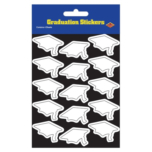 """Club Pack of 48 White Mortarboard Graduation Cap Sticker Sheets 7.5"""" - IMAGE 1"""