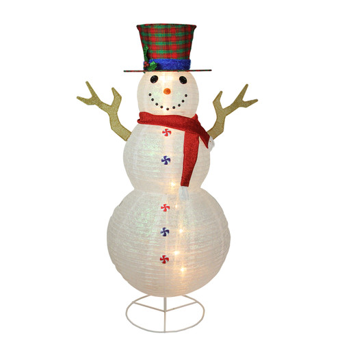 6' Pre-Lit White Glittered Snowman with Plaid Hat Outdoor Christmas Yard Art Decor - IMAGE 1
