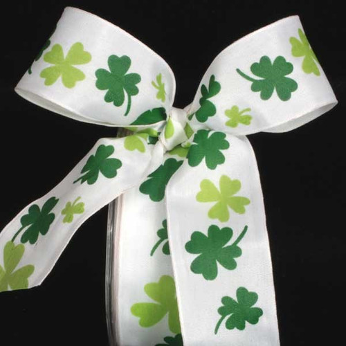 "White and Green Floral Wired Craft Ribbon 1.5"" x 27 Yards - IMAGE 1"