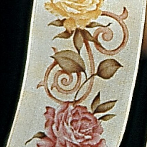 "White and Yellow Spanish Rose Print Wired Craft Ribbon 2.5"" x 27 Yards - IMAGE 1"