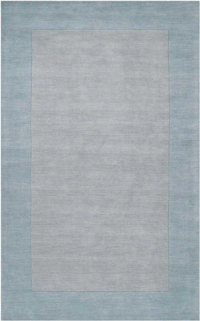 9' x 13' Solid Pale Blue and Gray Hand Loomed Rectangular Wool Area Throw Rug - IMAGE 1