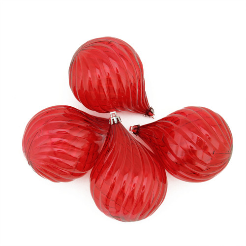 """4ct Red Hot Transparent Finial Drop Shatterproof Christmas Ornaments 4.5"""" - IMAGE 1"""