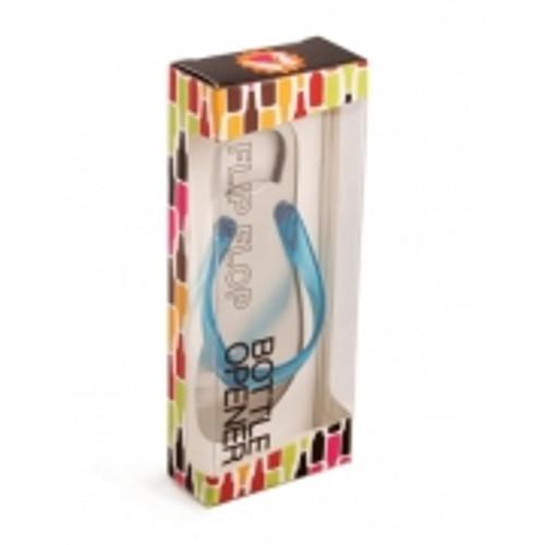 """5"""" Fashion Avenue Ocean Blue Flip Flop Silver Stainless Steel Bottle Opener - IMAGE 1"""