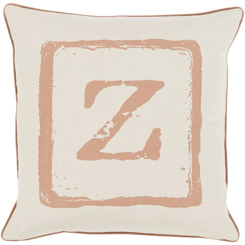 """18"""" Espresso Brown and Beige """"Z"""" Contemporary Square Throw Pillow - Down Filler - IMAGE 1"""