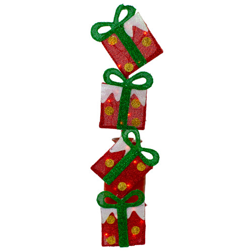 """44"""" Pre-Lit Red and Green Flat Stacked Gift Box Outdoor Christmas Decor - IMAGE 1"""