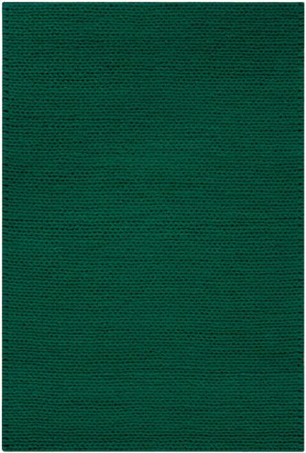5' x 8' Solid Emerald Green Hand Woven New Zealand Wool Area Throw Rug - IMAGE 1