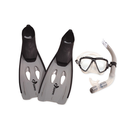 "3pc Gray and Black Adult Pro Swimming Pool Snorkeling Set 23"" - Large - IMAGE 1"
