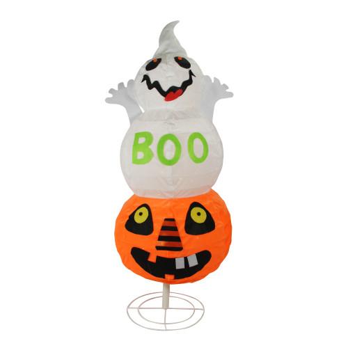 "37"" White and Orange Lighted Boo Ghost Jack-O-Lantern Pumpkin Halloween Tabletop Decor - IMAGE 1"