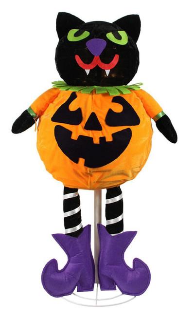 "35"" Pre-Lit Black and Orange LED Standing Cat Jack-O-Lantern Pumpkin Halloween Decor - IMAGE 1"