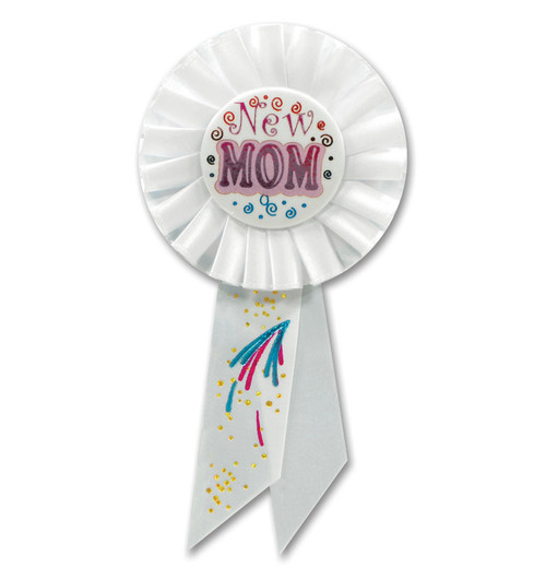 """Pack of 6 White and Blue """"New Mom"""" Baby Shower Celebration Party Rosette Ribbons 6.5"""" - IMAGE 1"""