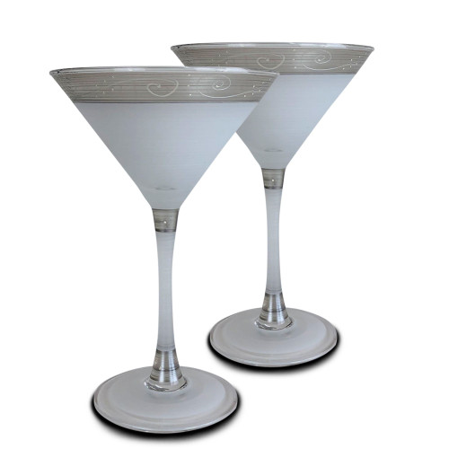 """Set of 2 Silver Swirls and Dots Hand Painted Martini Drinking Glasses Glasses 7"""" - IMAGE 1"""