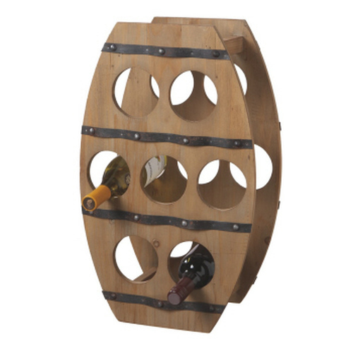"22.25"" Country - Rustic Wooden Barrel Design Wine Rack - 7 Bottle Storage - IMAGE 1"