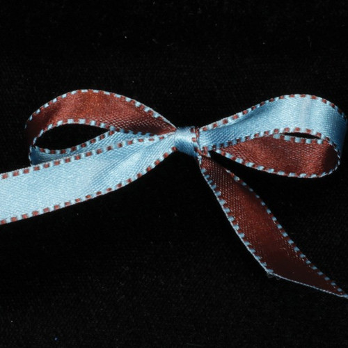"Blue and Brown Double Sided Craft Ribbon with Stitch Edge 0.25"" x 110 Yards - IMAGE 1"