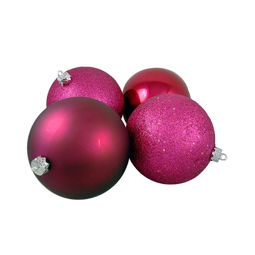 """4ct Raspberry Red Shatterproof 4-Finish Christmas Ball Ornaments 10"""" (250mm) - IMAGE 1"""