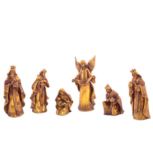 """Set of 6 Gold Religious Nativity Scene Christmas Tabletop Figurines 9.5"""" - IMAGE 1"""