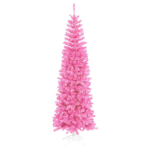 10' Pre-Lit Pencil Sparkling Artificial Christmas Tree - Pink Lights - IMAGE 1